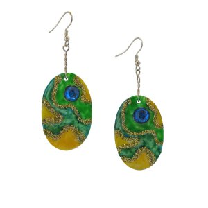 Oval Green-earrings